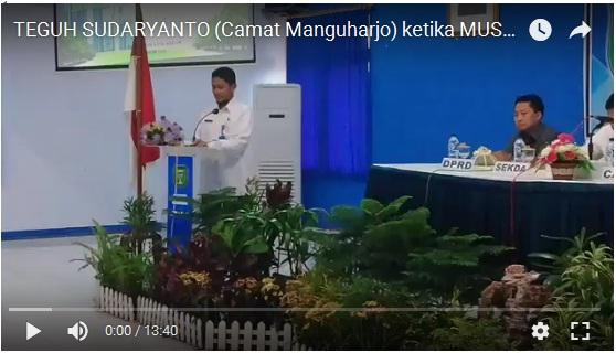 VIDEO SAMBUTAN CAMAT MANGUHARJO KETIKA MUSRENBANG KECAMATAN MANGUHARJO TAHUN 2018